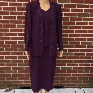 R&M Richards 3/4 Length Beaded Dress with Jacket